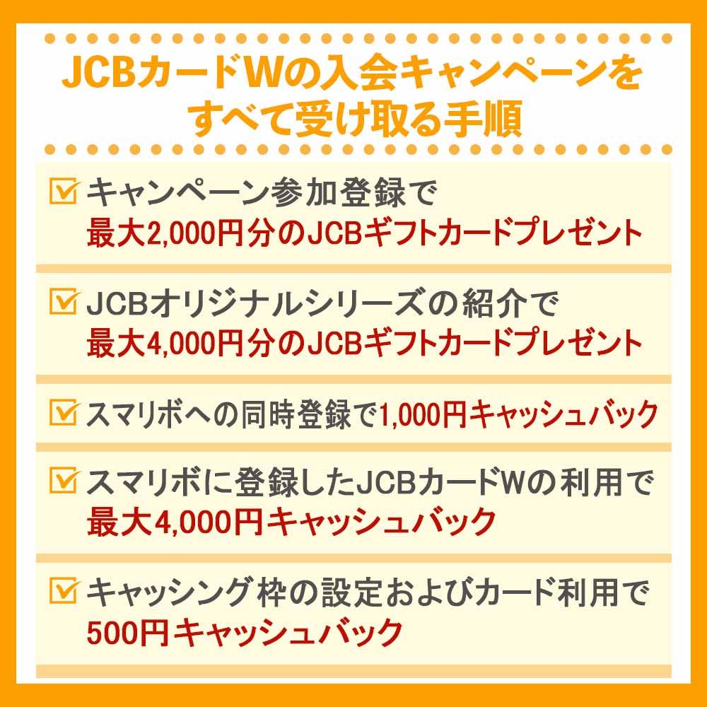 JCBカードWの入会キャンペーンをすべて受け取る手順