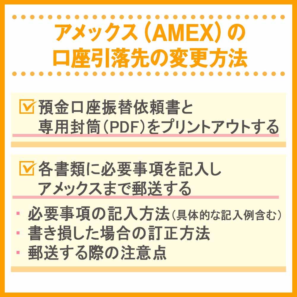 アメックス(AMEX)の口座引落先の変更方法
