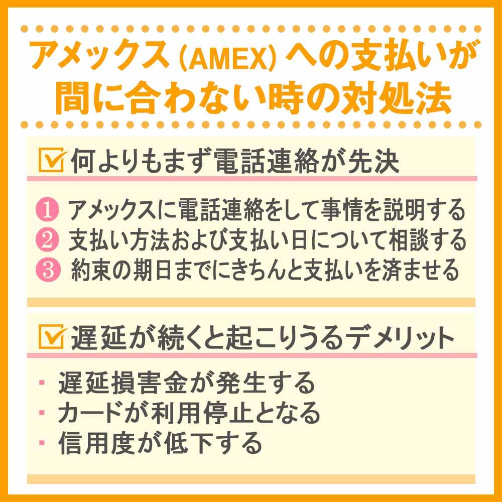 アメックス(AMEX)への支払いが間に合わない時の対処法