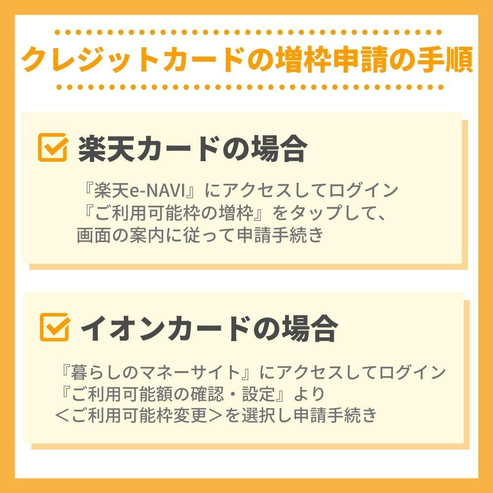 実例|クレジットカードの増枠申請の手順