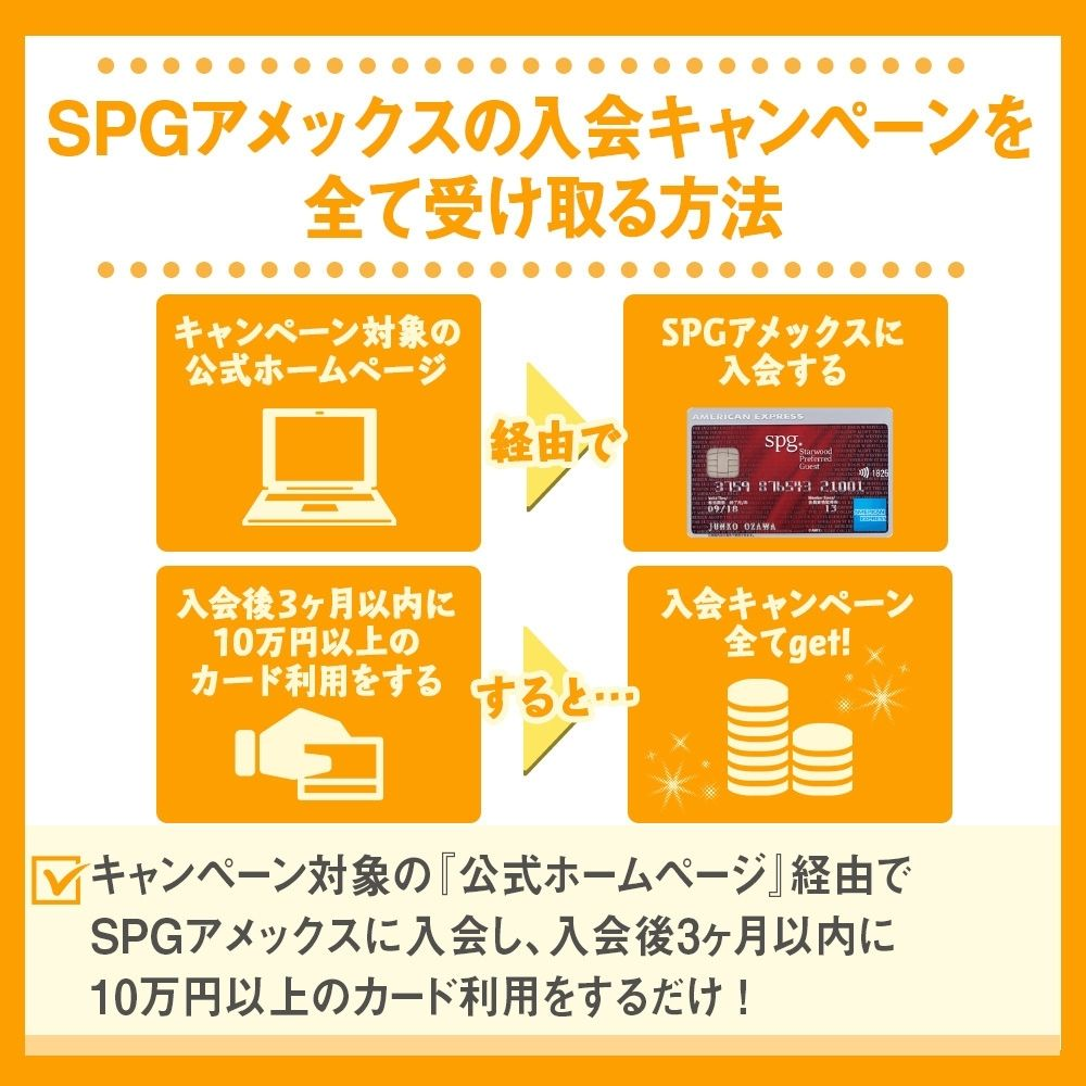 SPGアメックスの入会キャンペーンを全て受け取る方法