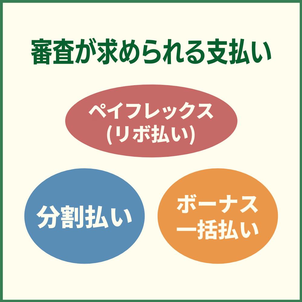 審査が求められる支払いは3種類