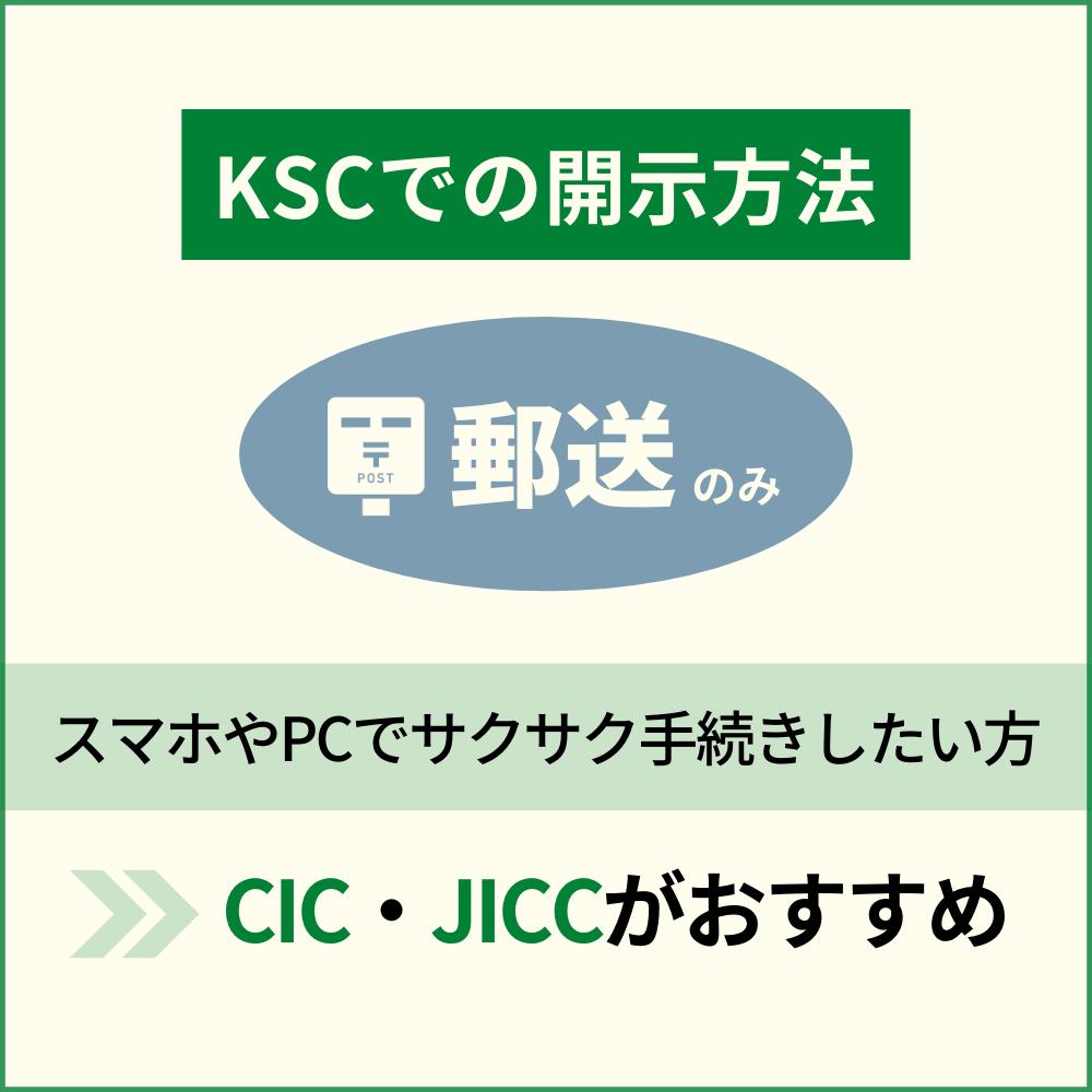 KSCでの信用情報開示は郵送のみ