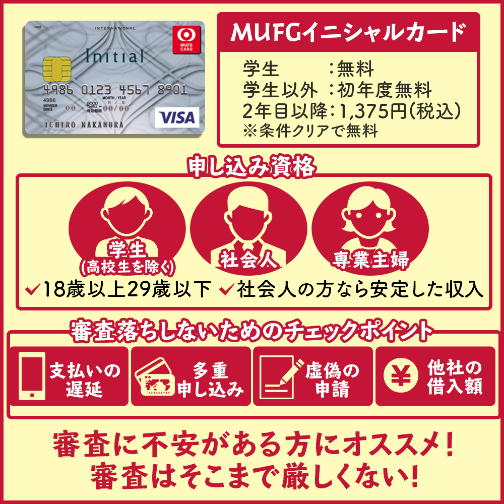 MUFGイニシャルカードの審査基準や審査に突破する方法|申込み前に審査落ちを避けよう!