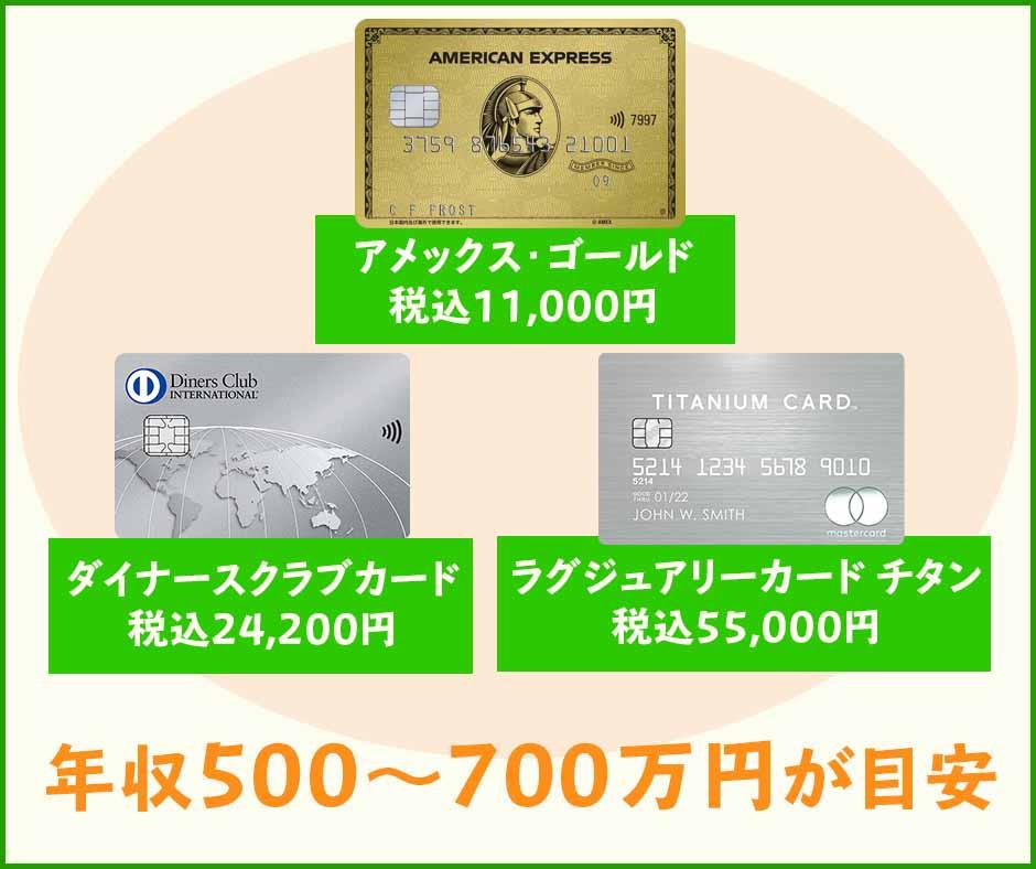 最上級クラスのゴールドカードなら年収500700万円が目安