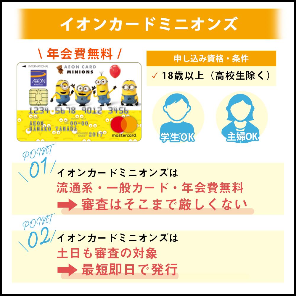 イオンカードミニオンズの審査基準や難易度を解説 審査基準はイオンカードと同等?!