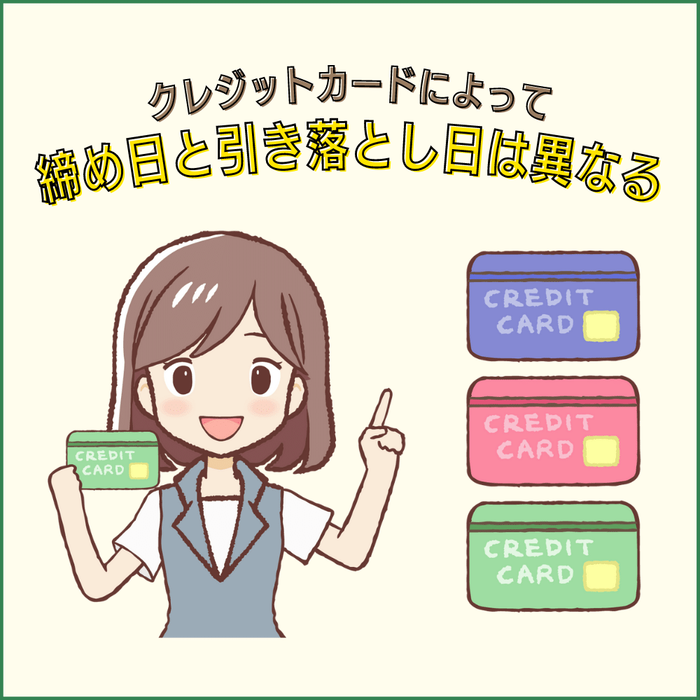 各クレジットカードの締め日・引き落とし日・確定日