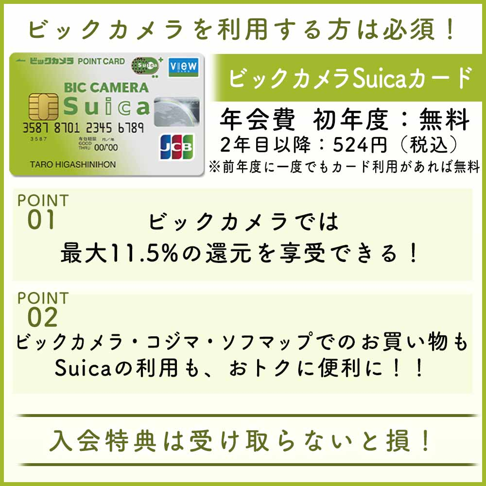 ビックカメラSuicaカードの入会キャンペーンは最大2,000円相当!全特典を受け取る方法を解説